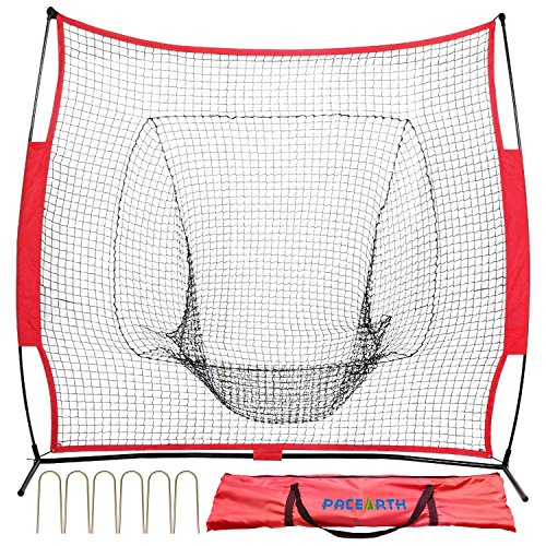 PACEARTH Baseball Net 7 x 7 Softball Net Portable Practice netting with 6 fastening nails & Strike Zone Target by PACEARTH