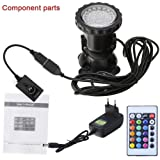 GEEDIAR® 36 LED Spot Led Submersible Ampoule / lampe LED étanche submersible Colorful aquarium sous-marin Spot Light pour Fish Tank avec 24 Télécommande IR Key (1.5w)