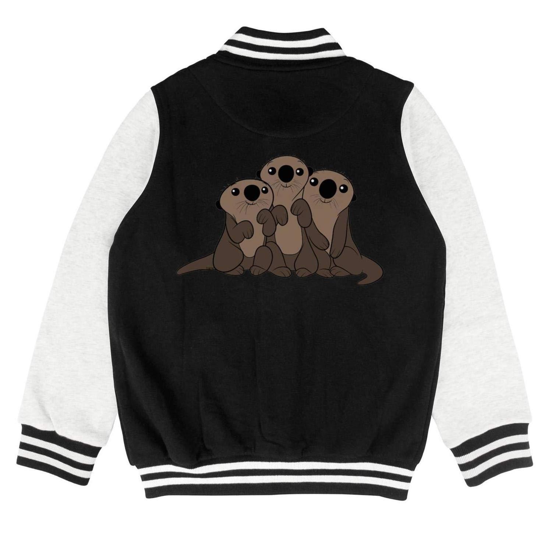 Autumn Kids Boys Winter Sea Otters Novelty Baseball Jacket Hoodie