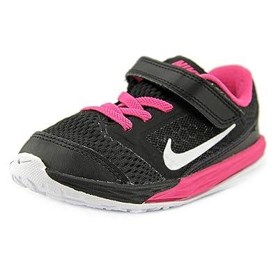 NIKE Kids Fusion (TDV) Running Shoe (5 M US Toddler Black/Metallic Silver/Vivid Pink)