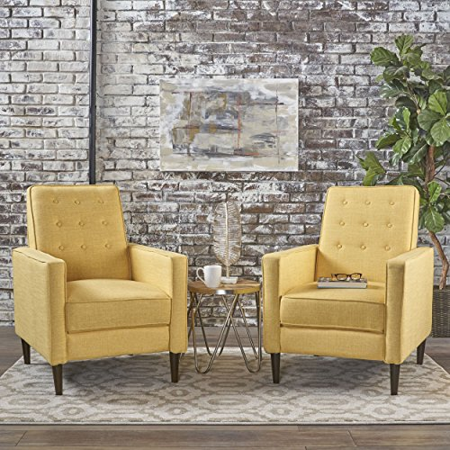 Christopher Knight Home 301378 Mason Mid-Century Modern Tuft Back Recliner Qty of 2, Fabric Muted Yellow , Dark Espresso