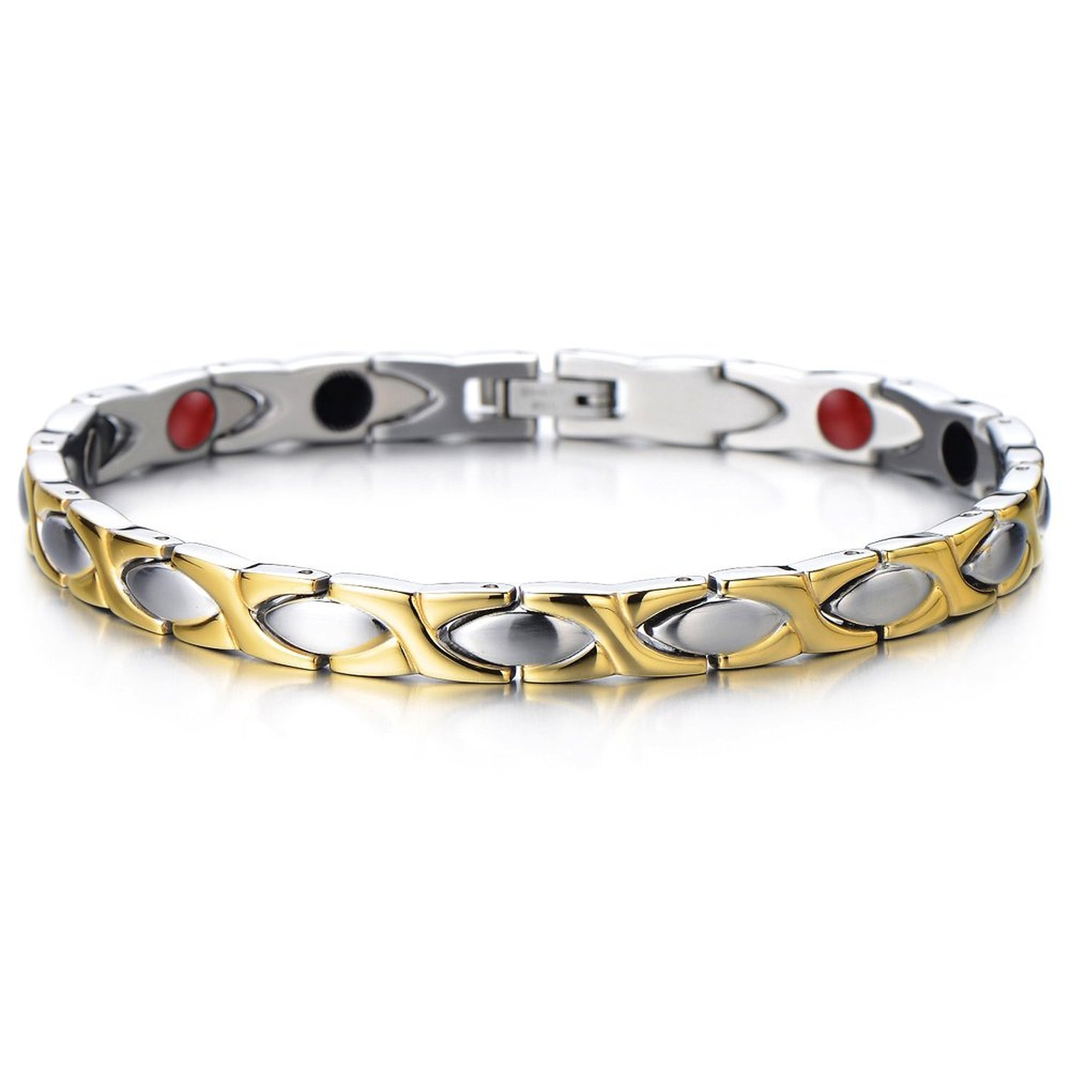 Magnetic Link Bracelet for Women Stainless Steel with Magnets, Germanium, Negative Free Link Removal Kit COOLSTEELANDBEYOND MB-147-CA