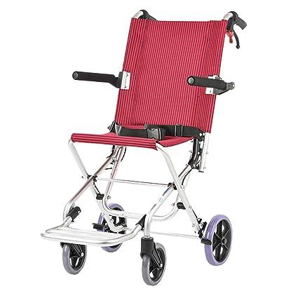 MLX Silla de ruedas manual, plegable y liviana. Portátil para niños mayores, ultraligero