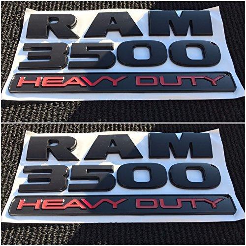 2X NEW DODGE RAM 3500 HEAVY DUTY BLACK 3M LOGO EMBLEM LETTERS NAMEPLATE BADGE