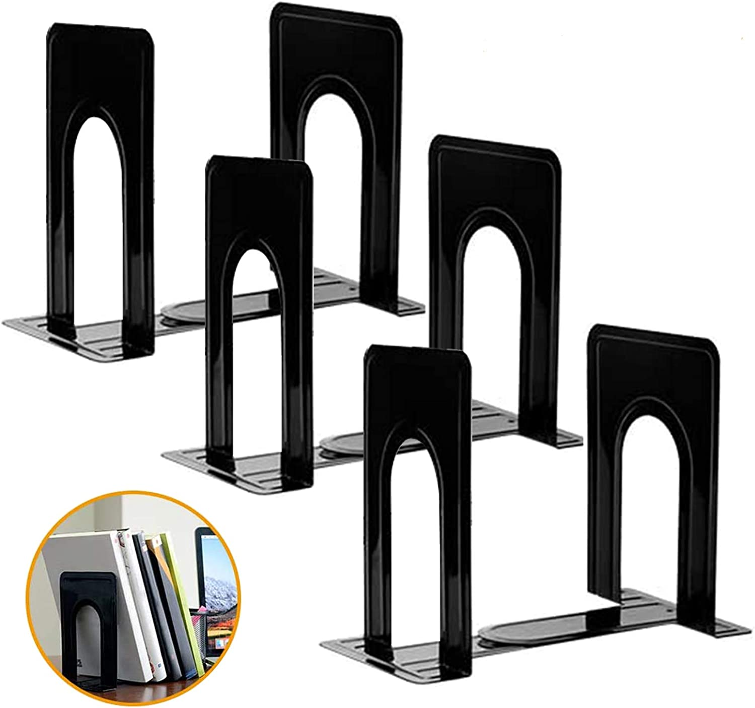 Umikk Bookends, Black Metal Nonskid Bookend Supports for Shelves Heavy Duty Books End, Office Book Stopper, 6 x 5 x 6 Inches, 6 Pieces (3 Pairs) (Black)