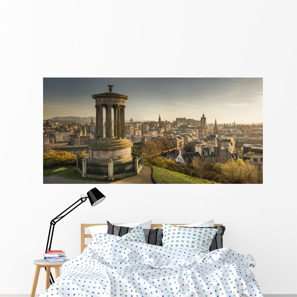 Amazon com wallmonkeys wm362888 edinburgh skyline peel and stick wall decals 72 in w x 35 in h colossal home kitchen