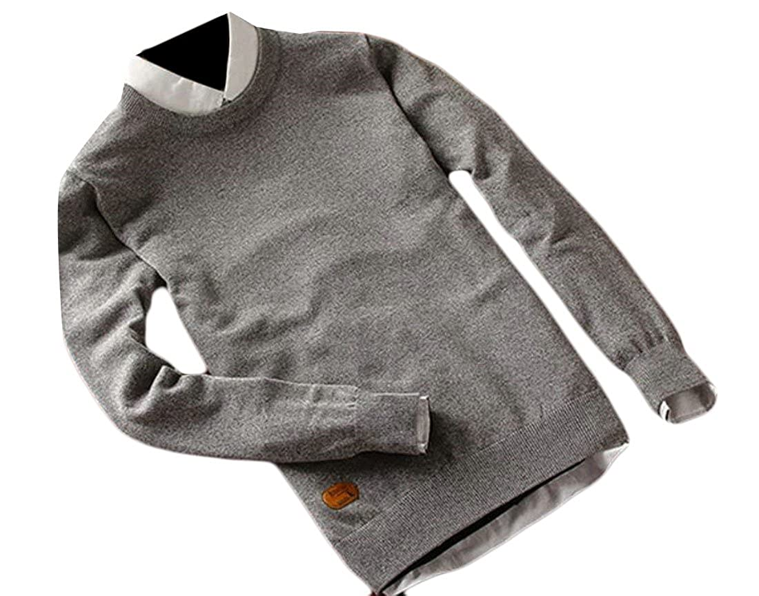 ZXFHZS Mens Round Neck Long Sleeve Regular Fit Pullover Solid Casual Sweater