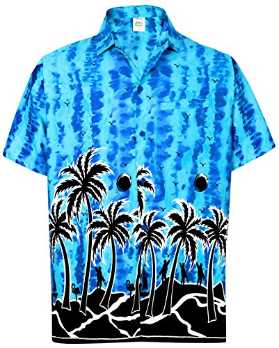 La Leela Aloha Hawaiian Tropical Beach Solid Plain Mens Casual Short Sleeves Button Down Tropical Shirts M Blue (Silk Printed Camp Shirt)