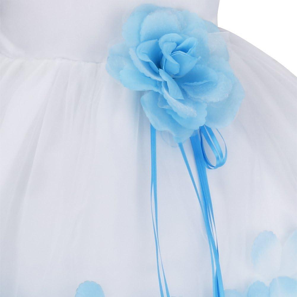 YiZYiF Baby M/ädchen Kleid mit Bl/ütenbl/ätter Taufkleid Festlich Kleid Hochzeit Party Kleinkind Festzug Kinder Kleidung T/üll Kleid