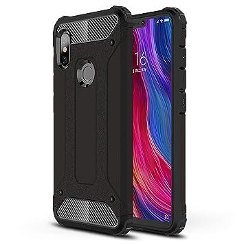 HUUH Funda Xiaomi Redmi Note 6/Xiaomi Redmi Note 6 Pro Carcasa Caja de teléfono móvil, combinación TPU + PC, Hermosa Mano de Obra(Negro)