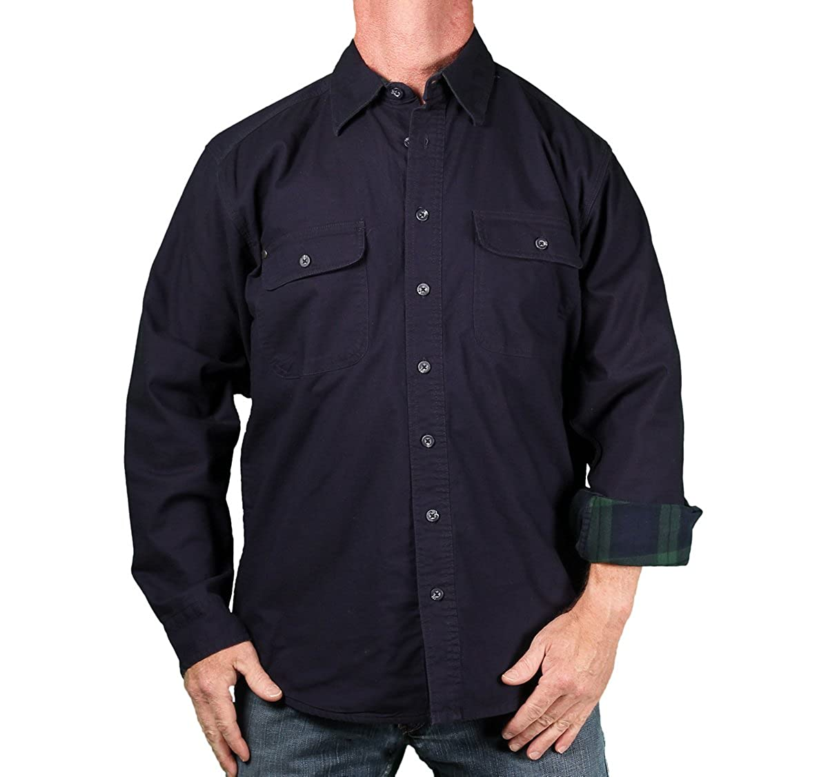 Tallwoods Mens Flannel Lined Cotton-Twill Shirt