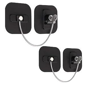 eSynic 2 PCS Fridge Lock Refrigerator Locks with 4 Keys Black Child Safety Locks Set for Appliances Kitchen Cabinets Fridge Door Refrigerator Cabinet Drawer