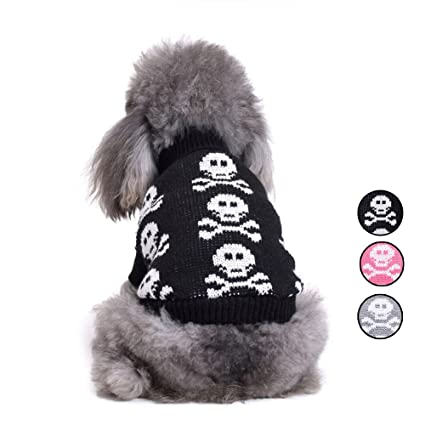 Amazon Knitted Skull Dog Sweater 3 Patterns Holiday Halloween