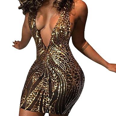 6952b0351bc4 JiherBeauty Womens Sexy Sequins Backless Deep V-Neck Halter Bodycon Club Mini  Dress at Amazon Women's Clothing store: