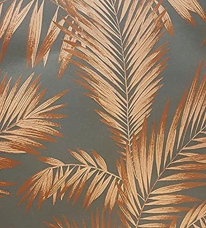 Palm Tree Wallpaper Tropical Luxury Weight Vintage Metallic Grey