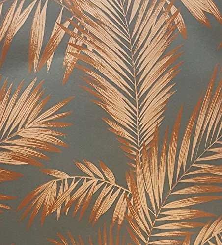 Palm Tree Wallpaper Tropical Luxury Weight Vintage Metallic Grey Copper Arthouse