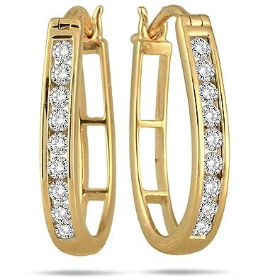 dac95b997 AGS Certified 1/2 Carat TW Diamond Hoop Earrings in 10k Yellow Gold (K-L