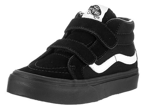 d5703185802bd7 Vans Kids Sk8-Mid Reissue V (Canvas   Suede) Black Skate Shoes ...