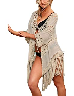79aa9657c2 Bsubseach Women Bohemian Chiffon Bikini Swimsuit Cover Up Swimwear Tassel  Cardigan
