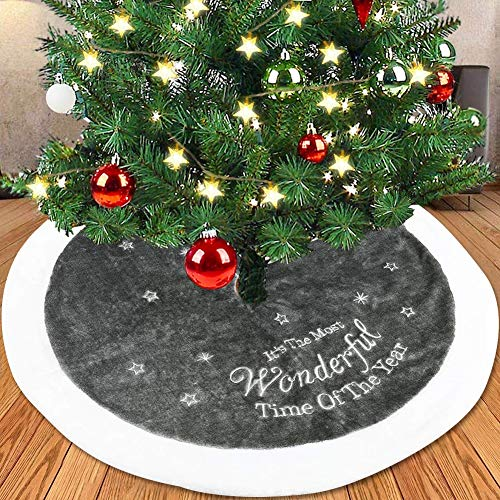 """LAVAY Gray Christmas Tree Skirts Luxury Faux Fur Plush Wonderful Time Embroidery 35.4"""" Xmas Tree Skirts Holiday Christmas Tree Ornaments Home Party Christmas Decorations from LAVAY"""