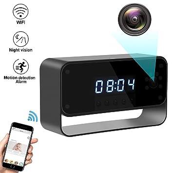 XAJGW HD 1080P WiFi Cámara Oculta Reloj de Alarma Visión Nocturna/Detección de Movimiento Cámara de Seguridad inalámbrica para cámaras de niñera domésticas ...