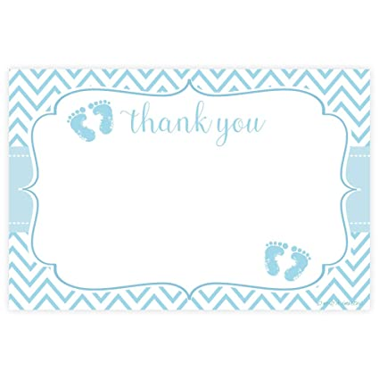 Amazon Blue Feet Boy Baby Shower Thank You Cards 20 Count