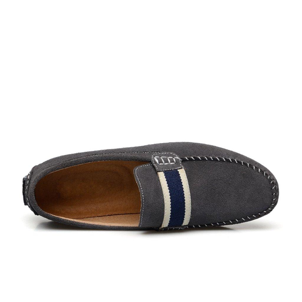 Minitoo sencilla para hombre de holgazán tipo Mocasín diseño de rayas de tela vaquera de ante con zapatos de diseño de barca en el informal, color azul, talla 41