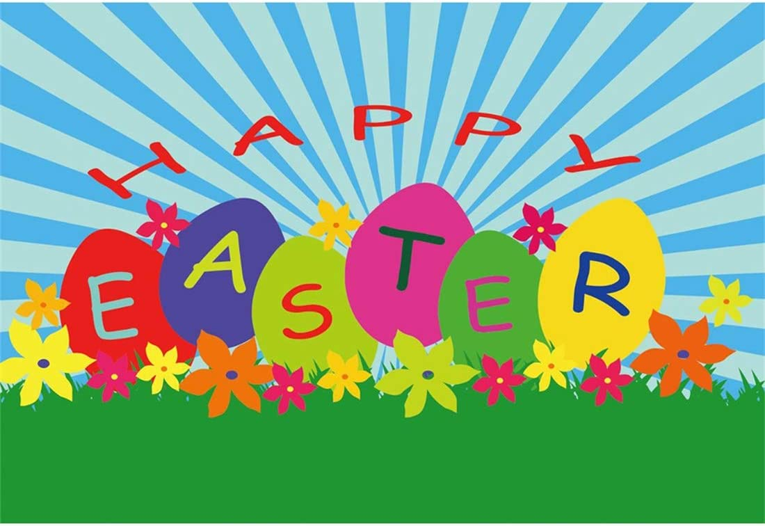 Yeele-Easter-Backdrop 10x8ft Happy Easter Photography Background Eggs Cartoon Grassland Sun Sunshine Blue Stripe Photo Backdrops Pictures Studio Props Wallpaper