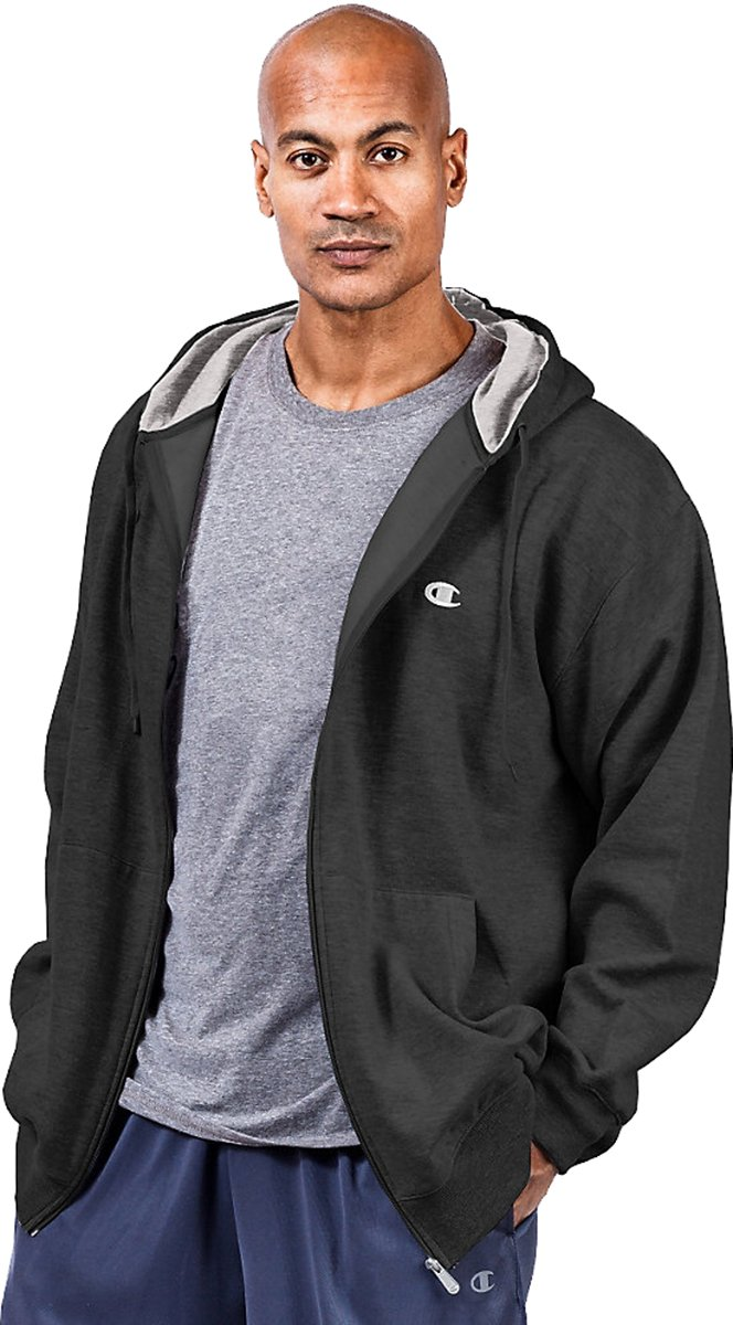 Champion Men's Big & Tall Full Zip Fleece Jacket Black 4X Big by Champion