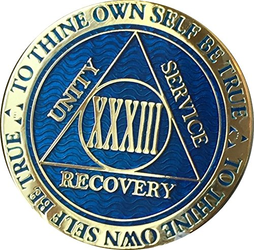 Reflex Blue Gold Plated AA Medallion Alcoholics Anonymous Chip ()