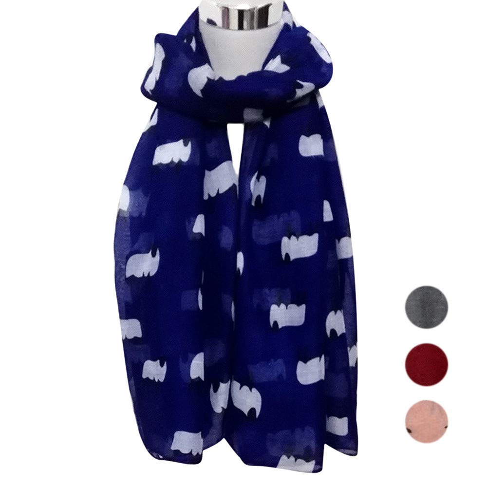 Voile Scarf,Wociaosmd Women Girls Cute Sheep Print Soft Viole Long Scarf Shawl Wraps