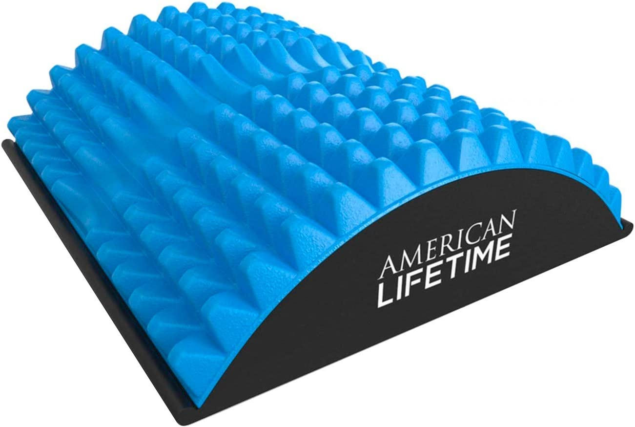 American Lifetime Lower Back Stretcher, Massage for Chronic Lumbar Pain Relief Treatment, Helps with Spinal Stenosis Sciatica Herniated Disc and Neck Muscle Pain, Blue