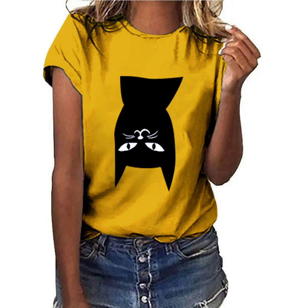 Womens Cat Print Tee Casual Loose Short Sleeve T-Shirt Plus Size Blouse Tops