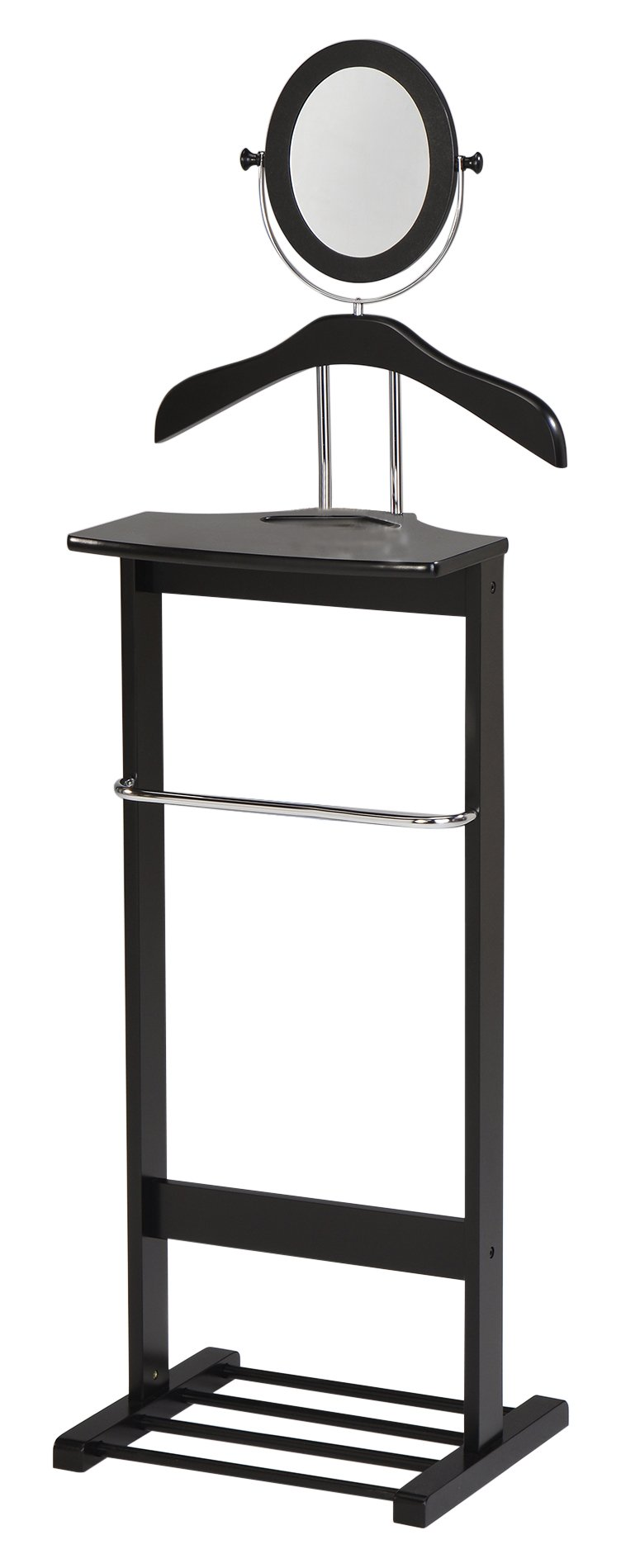 Kings Brand Millett Wood Suit Valet Stand Clothes Rack, Black/Chrome by Kings Brand Furniture