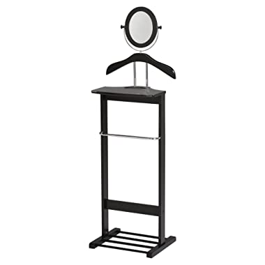 Kings Brand Millett Wood Suit Valet Stand Clothes Rack, Black/Chrome