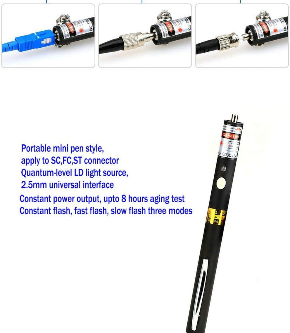 Jeirdus Portable Mini Pen 10mW 10km Visual Fault Locator Fiber Optic Cable Tester Meter Finder Red Light Laser for Engineering Maintenance