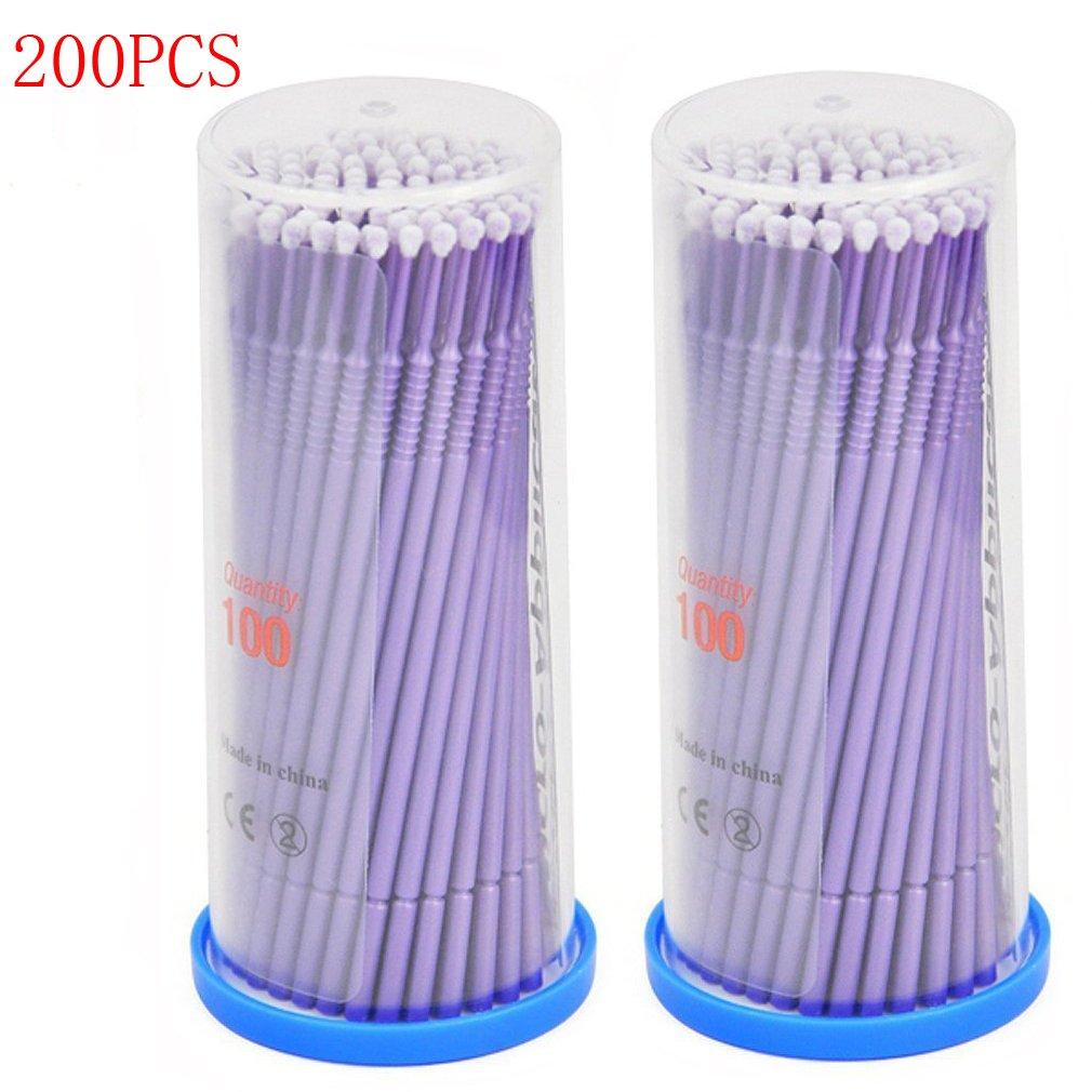 YESURPRISE 200 PCS Disposable Eyelash Swabs Brush Mascara Wands Applicator Lash Extensions Micro Brushes Purple