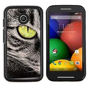 LECELL--Funda protectora / Cubierta / Piel For Motorola Moto E -- Verde del ojo de gato gris Wirehair americano --