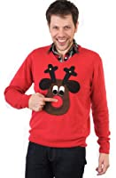 Woolly Babs V neck Rudolph Christmas Jumper (Brown Face)