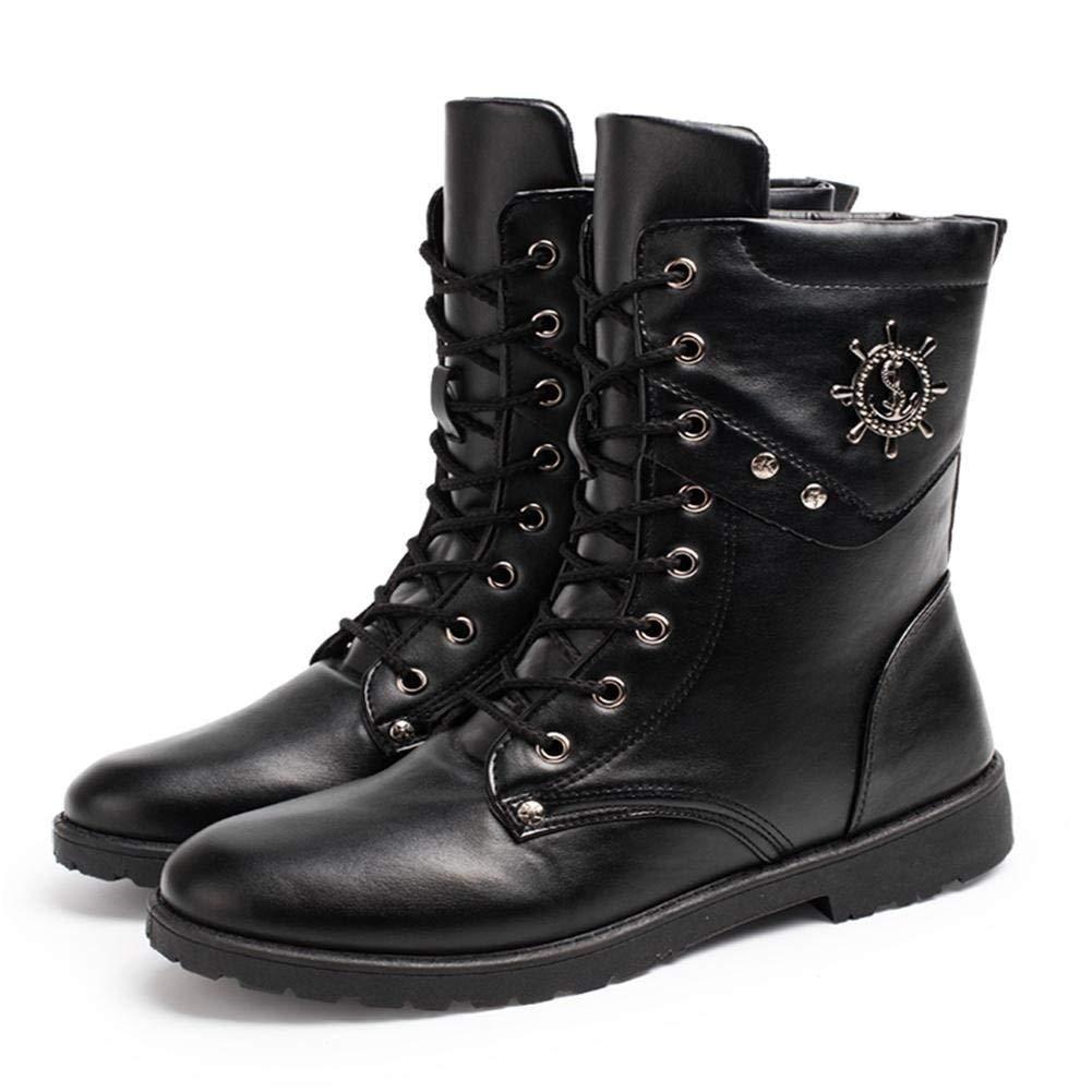 Fuxitoggo Männer Casual Gang Trend Winter Teen Wasserdichte Stiefel (Farbe   EU 40, Größe   Schwarz)