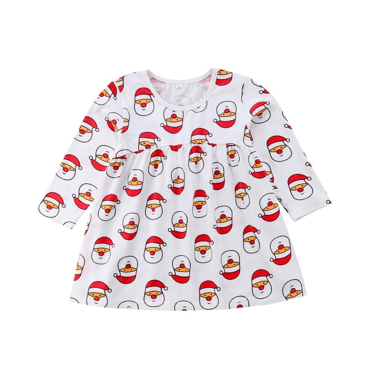 8972c5f823998 Amazon.com: ZWINZ Baby Little Girls Christmas Dress Long Sleeve Santa Claus  Print Tutu Holiday Dress: Clothing