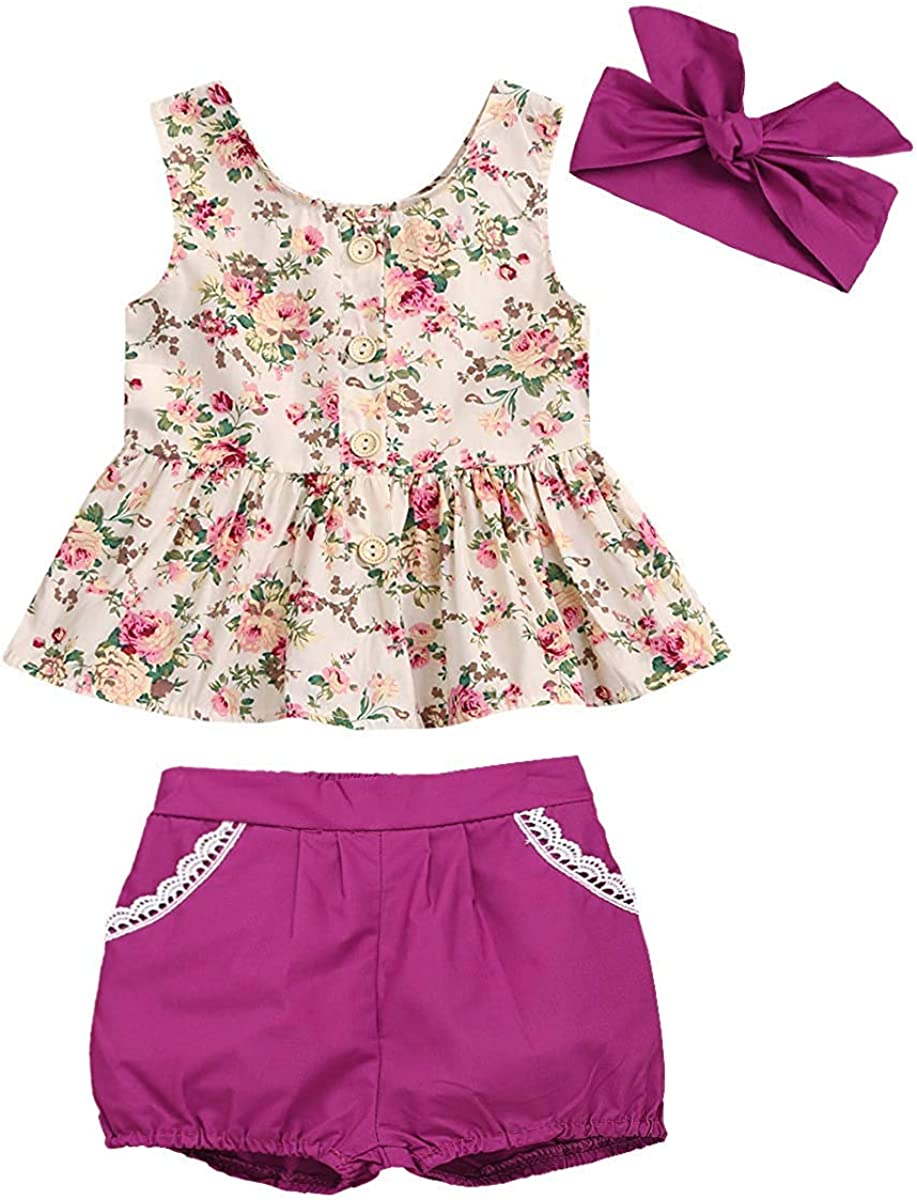 Toddler Baby Girls Clothing Set Short Sleeve T Shirt and Flower Shorts Girl Summer Outfits
