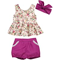 i-Auto Time Toddler Baby Girl Dress Floral Ruffle Dresses Shirt+Short Pant Clothes Set