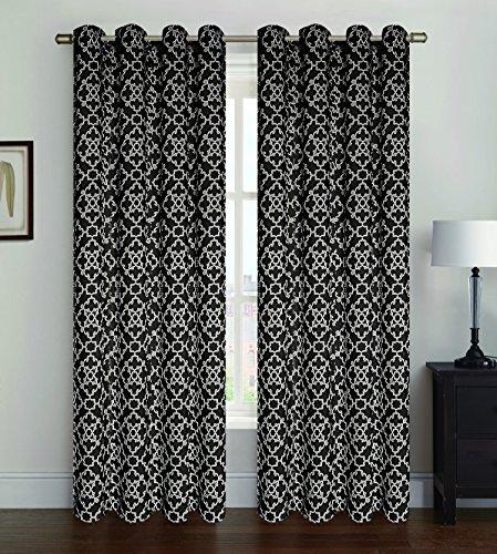 2 Pack Alex Oxford Window Panel, Window Curtains, Lattice Pattern, 38