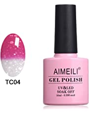 Aimeili Soak Off Uv Led Temperature Color Changing Chameleon Gel Nail Polish - Hot Pink To Glitter White (Tc04) 10Ml