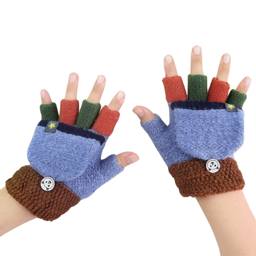 Kids Cute Warm Convertible Glove Flip Top Fingerless Gloves with Mitten Cover Xmas Gift for Boy Girl