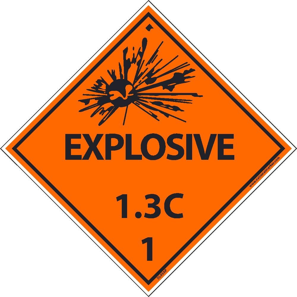 DL93ALV National Marker D0T Shipping Label, Explosive 1.3C, 1, 4 Inches x 4 Inches, Ps Vinyl, 500/Roll