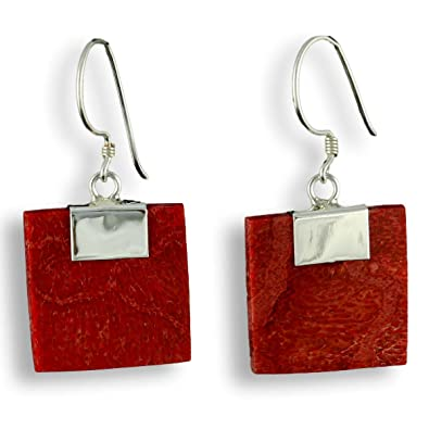 Island Piercings 925er Silver and Red Coral Design Earrings SER123 fCE5cw