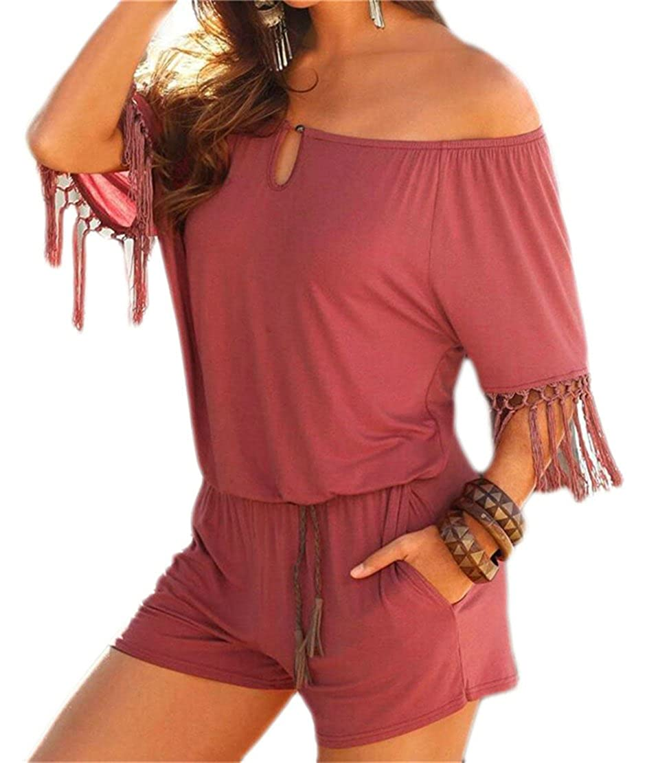S-Fly Womens Off Shoulder Tassel Stitching Short Beach Jumpsuits Rompers