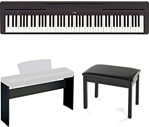 Yamaha P45B Digital Piano with L85 Keyboard Stand and Padded Bench